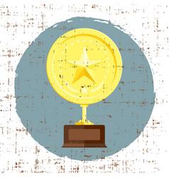 Golden star achievement award with grunge texture vector