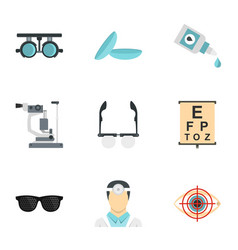 Vision correction icons set flat style vector