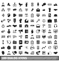 100 dialog icons set simple style vector