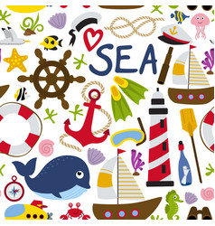 Seamless pattern with nautical element vector
