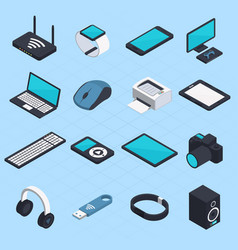 Isometric wireless mobile devices vector