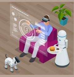 Isometric techno robots and man sitting on sofa at vector