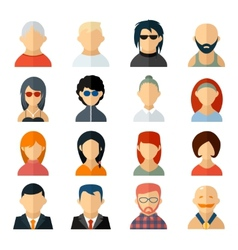 Set of user avatar icons in flat style vector