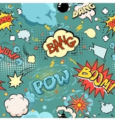 Seamless comic book explosion bombs and blast set vector
