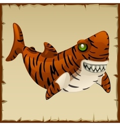 One evil tiger shark cartoon character vector