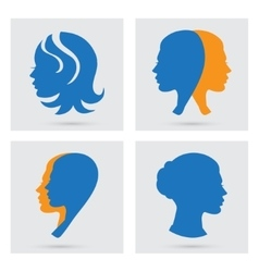 Woman icons set portraits silhouette vector