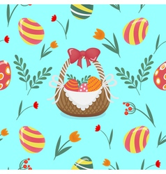 Happy easter seamless pattern with easter eggs vector