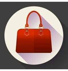 Red fashion women hand bag icon Flat design style vector image