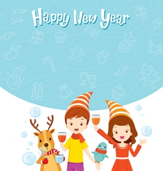 Girl boy reindeer and bird fun with party vector