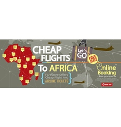 Cheap flight to africa 1500x600 banner vector