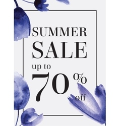 Summer sale up tu 70 per cent off watercolor vector
