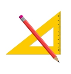 Pencil and ruler icon isolated on white vector