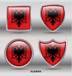albania flag in 4 shapes collection vector image vector image