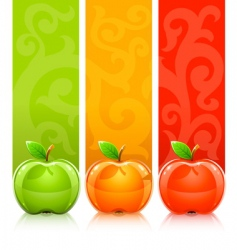 apples on decorative background vector image