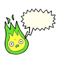 Cartoon friendly fireball with speech bubble vector