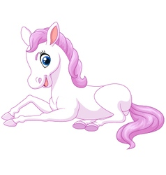 Cartoon funny beautiful pony horse sitting isolate vector image vector image