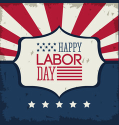 Colorful poster of happy labor day with emblem vector