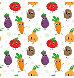 Cute seamless pattern with happy vegetables vector image