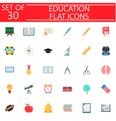 Education flat icon set school sign collection vector