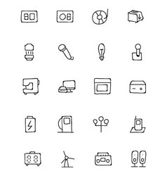 Electronics hand drawn doodle icons 6 vector