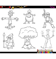 fantasy characters coloring page vector image vector image
