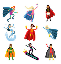 female superheroes in different costumes set of vector image