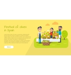 Festival of olives in spain web banner flat style vector