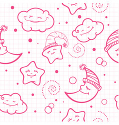For baby pattern night pattern moon and stars vector