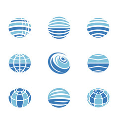 globe icons set vector image vector image