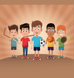 Group boy sport exercise game vector