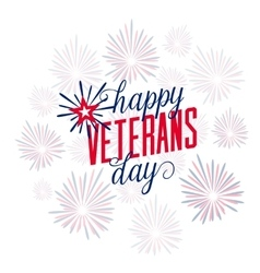 Happy Veterans Day with firework vector image vector image