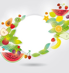 Healthy lifestyle set of fruits on the white vector