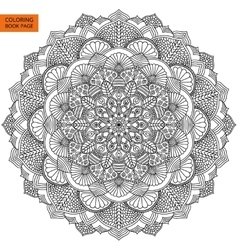 Intricate Black Mandala for Coloring Book vector image vector image