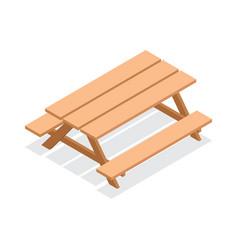 Isometric wooden table with benches vector
