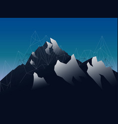 landscape mountains with shod and geometric lines vector image vector image