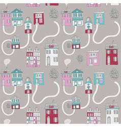 little town seamless background vector image vector image