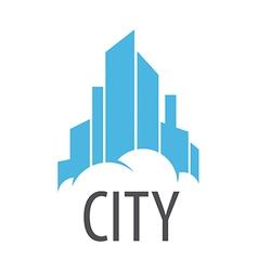 Logo blue city on the cloud vector
