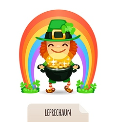 lucky leprechaun with coins in front of a rainbow vector image vector image