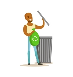 Man throwing waste in recycling bag contributing vector