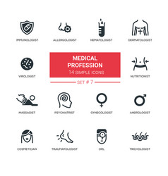 medical professions - modern simple thin line vector image vector image