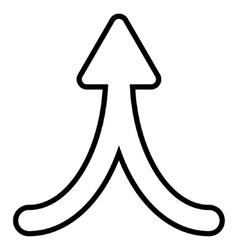 Merge arrow up thin line icon vector