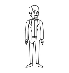 Monochrome silhouette of man stand with van dyke vector