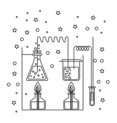 Monochrome silhouette scene of chemical laboratory vector