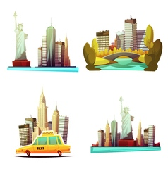 New york downtown 2x2 design compositions vector