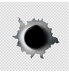 Ragged bullet hole torn in ripped metal vector