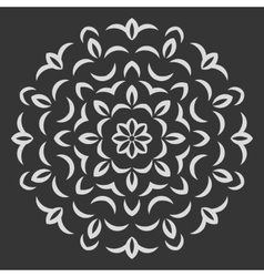 Round flower pattern on black background vector