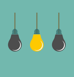 row of hanging lightbulbs with one burning on blue vector image