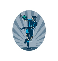 Rugby player running with ball and passing vector image