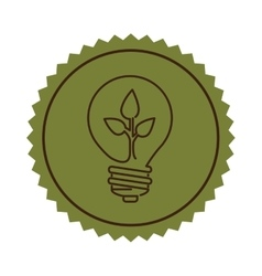 stamp light bulb flat icon with leaf inside vector image