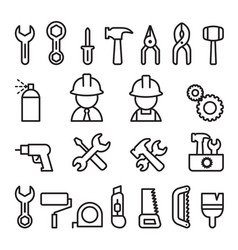 tools icon set in thin line style vector image